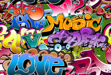 Stores à enrouleur Graffiti Graffiti seamless background. Hip-hop art