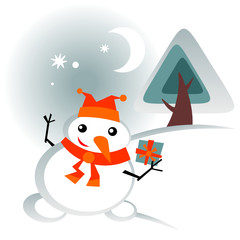 snowball with gift