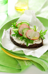 Sandwich with soft cheese ,radish and cucumber
