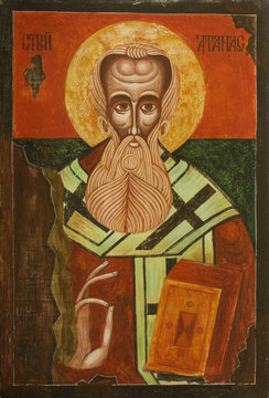 Old Bulgarian Icon of Saint Athanasius