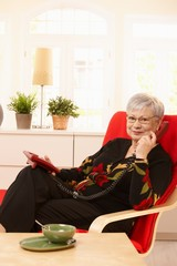 Pensioner lady on the phone