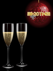 Champagne and new year disco ball