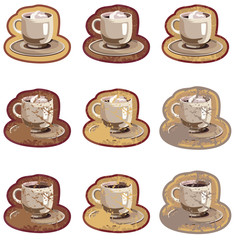Grunge emblems with coffee cups