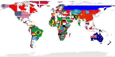 Wall Mural - World map flags