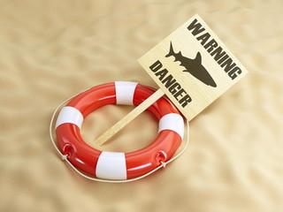 warning shark lifebelt beach
