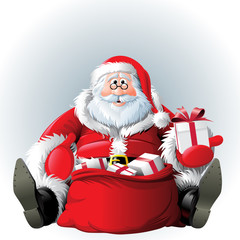 Sitting Santa Claus with the sack of gifts