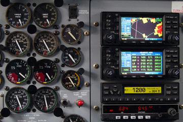 aircraft dashboard with screens