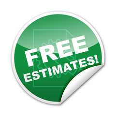 Pegatina FREE ESTIMATES con reborde