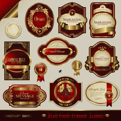 vector set: red and golden labels in different styles