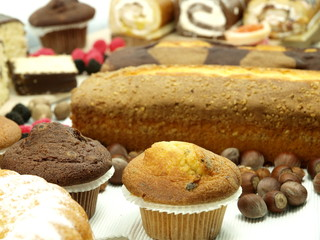 Delicious cakes with misc flavors
