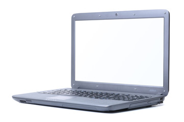modern laptop isolated on white. Screen is cut with clipping pat