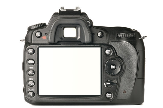 back of a modern DSLR camera, screen is cut with clipping path