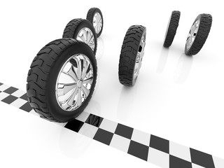 Wheel. Finish of race. 3D, Isolated