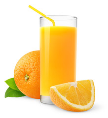 Isolated fruit drink. Glass of fresh juice and orange slices isolated on white background