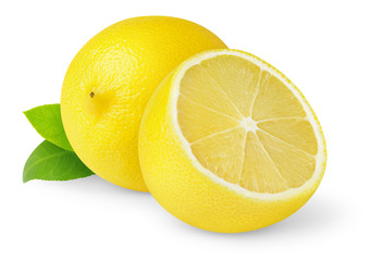 Isolated lemons. Cut fresh lemon fruits isolated on white background