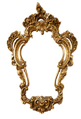 retro golden mirror frame, baroque style,  isolated on whi