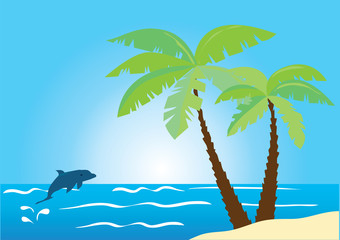 beach with palms and dolphine jumping out of water