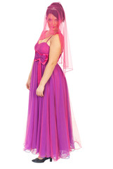 Garden Poster Beautiful woman with pink veil on face