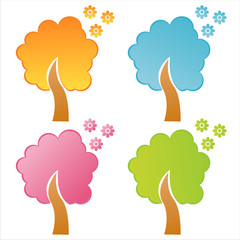 set of 4 colorful floral trees