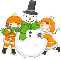 Kids Playing with a Snowman