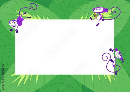 Sfondo Verde Con Foglie E Scimmie Che Saltano Allegre Stock Photo
