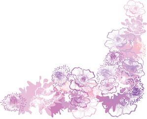 Vector frame from poppy flowers
