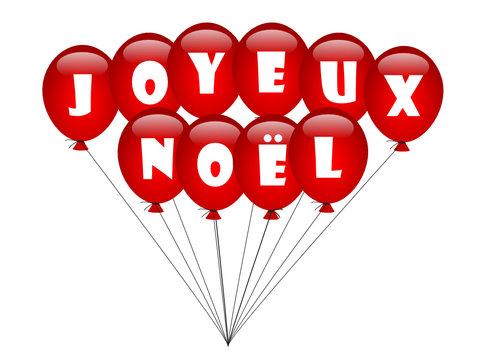 """""""JOYEUX NOEL"""" en Ballons de Baudruche (carte voeux noël fêtes)"""