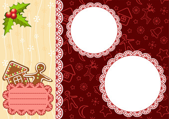 Christmas background with gingerbread and frames.