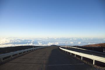 Summit road and cloud at Mauna Kea, Hawaii
