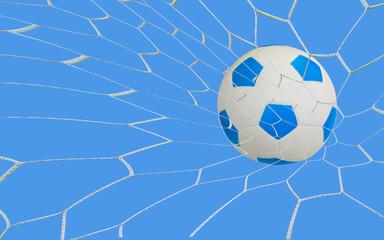 kick soccer goal under the blue sky