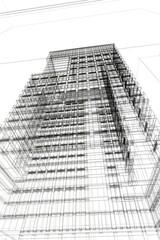 rendering grattacielo 3d illustrazione wireframe