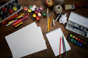 Painting tools on wooden board