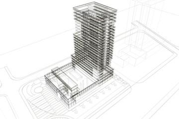 grattacielo 3d rendering