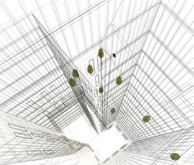 grattacielo 3d illustrazione wireframe