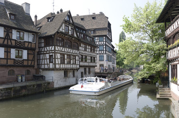 France, Strasbourg. Ancient houses on the channel
