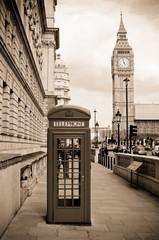 London phone box and Big Ben, sepia