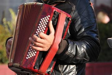 les mains sur l'accordéon