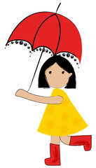 Vector cute girl under umbrella
