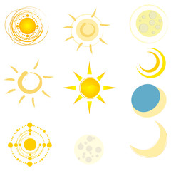 Vector set of cute suns and moons