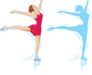 Figure Skater and an outline of a skater.