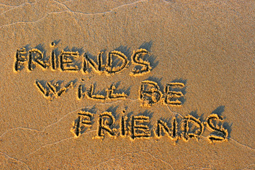 inscription on sand friends will be friends