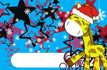 giraffe  cartoon xmas background3