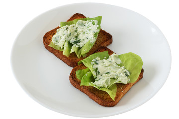 Toasts with cream cheese and spinach