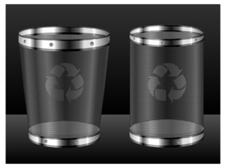 Recycle bins with emblem