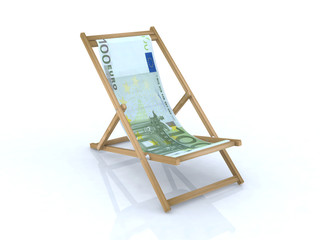 wood beach chair with 100 euro banknote