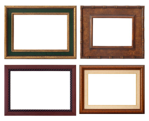 set of wooden rustic frame, isolated with clipping path