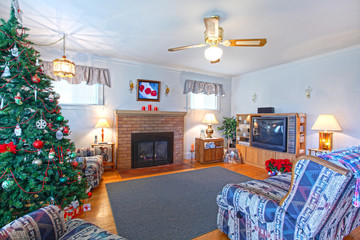 Granma house with fireplace and christmas tree