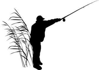 silhouette of  fisherman in reed