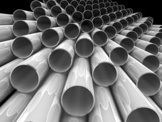 High technology background - chrome tubes. 3d render.