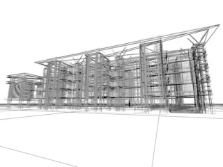 3D construction. Concept - modern architecture and designing.